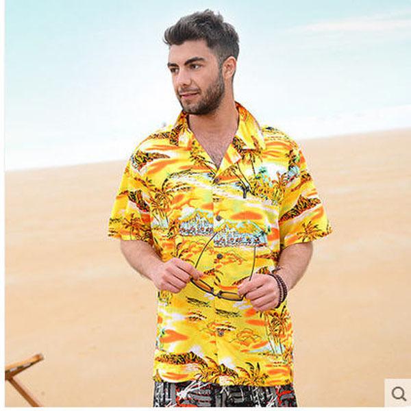Marca New Mens Camisa Havaiana Ocasional Curto-de Mangas Compridas Soltas de Algodão Floral Camisa Da Praia Para O Homem de Alta Qualidade Camisa Masculino J58