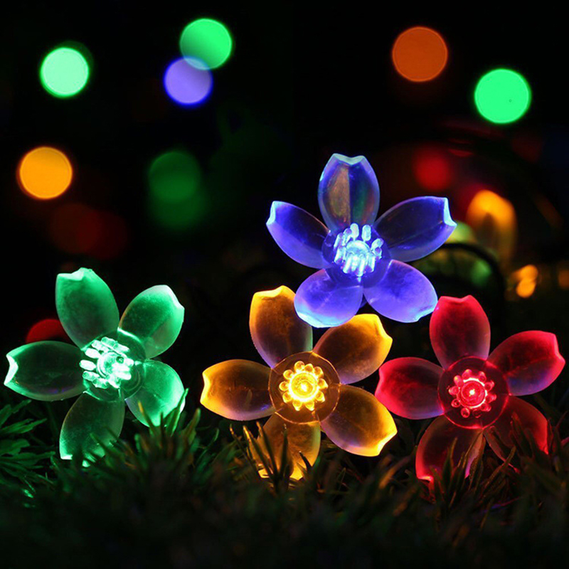 все цены на 50 LEDS 7M Peach Sakura Flower Solar Lamp Power LED String Fairy Lights Battery Garlands Garden Christmas Holiday Decor Outdoor онлайн
