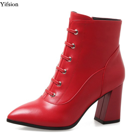 Yifsion Women Winter Leather Ankle Boots Cross-Tied Square High Heels Shoes Pointed Toe Sexy Black Red Shoes Women US Size 4-10Yifsion Women Winter Leather Ankle Boots Cross-Tied Square High Heels Shoes Pointed Toe Sexy Black Red Shoes Women US Size 4-10
