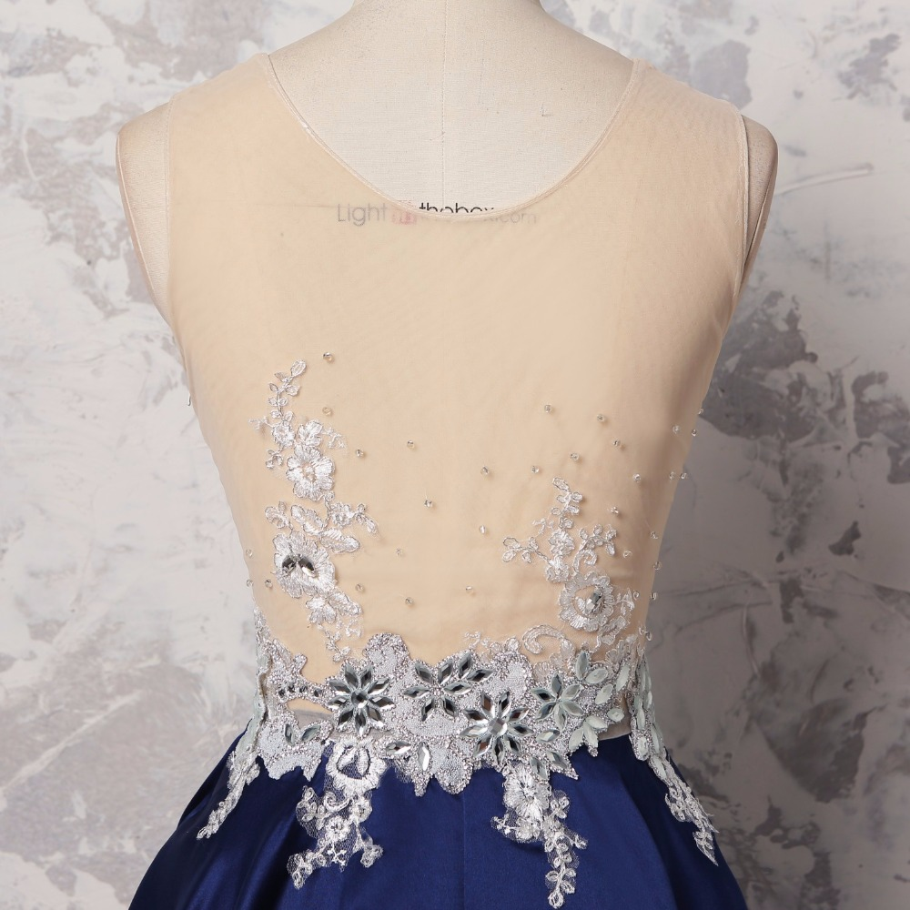864f22e6377a3 US $114.81 11% OFF|Sexy Sheer Dark Navy Blue Prom Gowns With Crystal Beaded  Appliqes Long Prom Dress 2018 Formal Dress Abiye Robe De Soiree Longue -in  ...