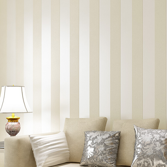 Beibehang Style Glitter Stripe Circles Wall Paper Cream Beige Brown Wide Band Prepasted