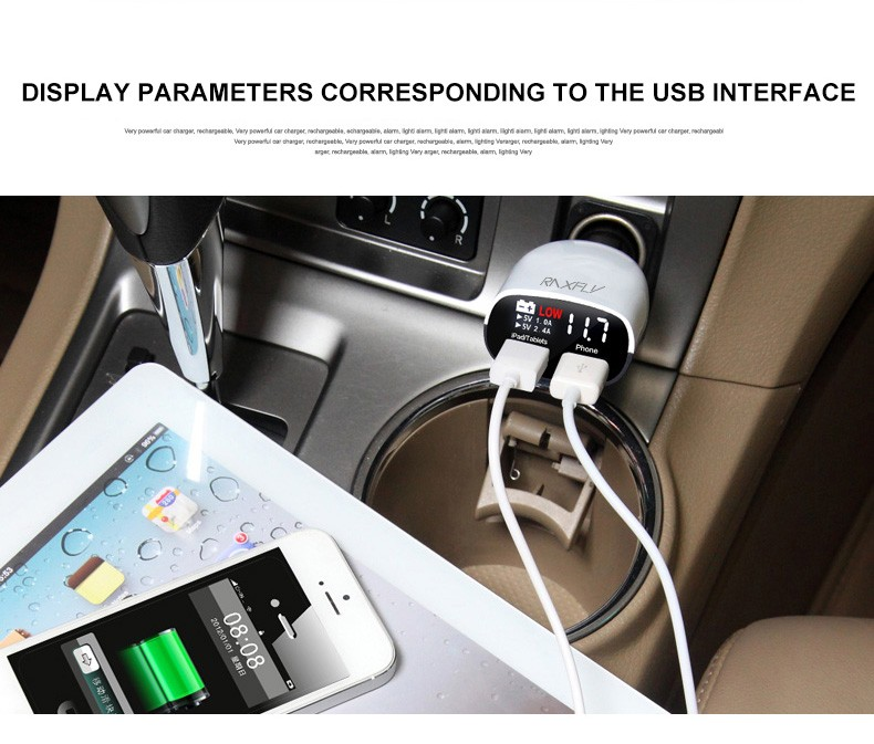 Universal Use Dual Port USB Charger 3.4A Car Charger Voltage Monitor with LED Screen Display (4)