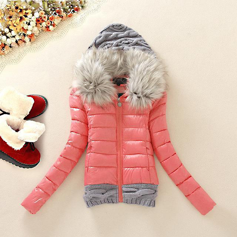 Short Slim Women's   Parkas   Winter Coat Fur Collar Hooded Cotton Padded Knitting Warm Coats & Jackets Outwear Black   Parka   354