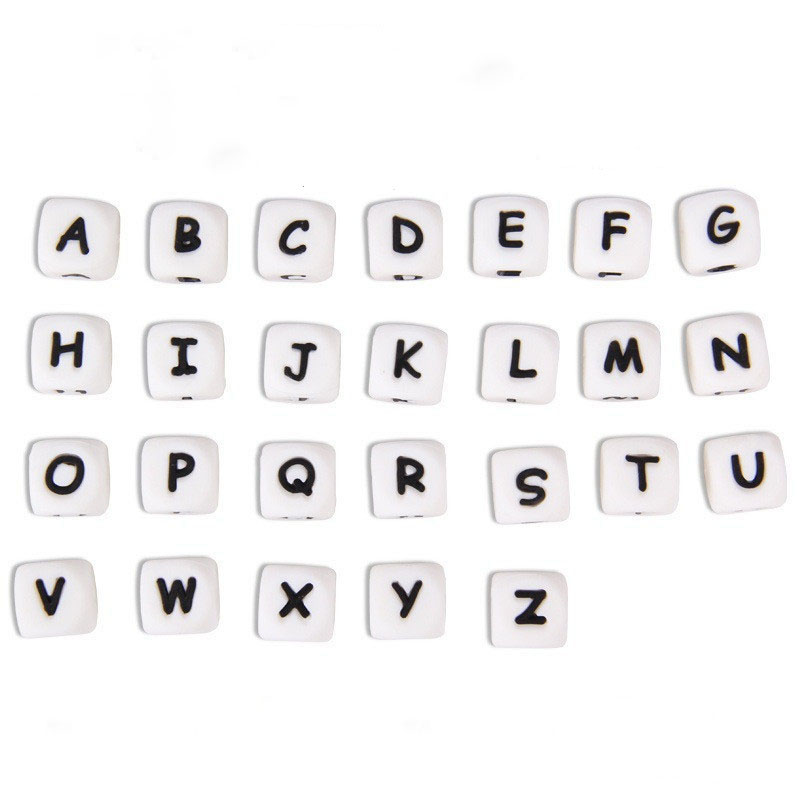 30pc Alphabet Diy 12mm Cube Letter Silicone Teething Beads Bpa Free  Bead For Baby Teether Necklace And Pacifier Chain