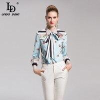 LD LINDA DELL Runway Designer Blouse Fashion Print Tops Women Long Sleeve Bow Collar Shirts Casual