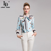 LD LINDA DELL Runway Designer Blouse Fashion Print Tops Women Long Sleeve Bow Collar Shirts Casual