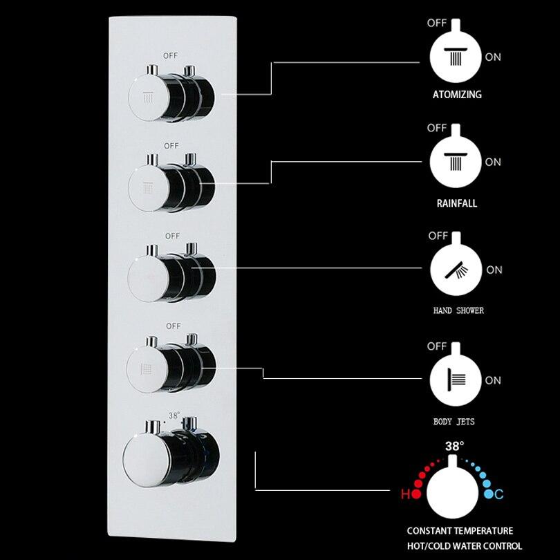 Большой поток воды настенный 2 ~ 4 способа Термостатические горячие и холодные смесители 2 ~ 4 способа ванная комната смеситель клапан