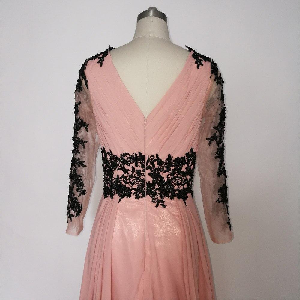 E JUE SHUNG Dammiga Rosa Svarta Spetsapplikationer Långa Klänningar - Särskilda tillfällen klänningar - Foto 6