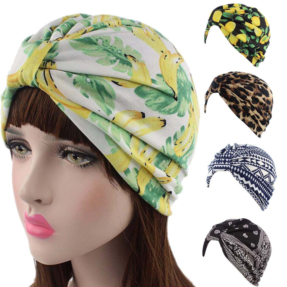 New Simple Women Printing Cancer Chemo Hat Beanie Scarf Turban Head Wrap Cap Casual Style Hat