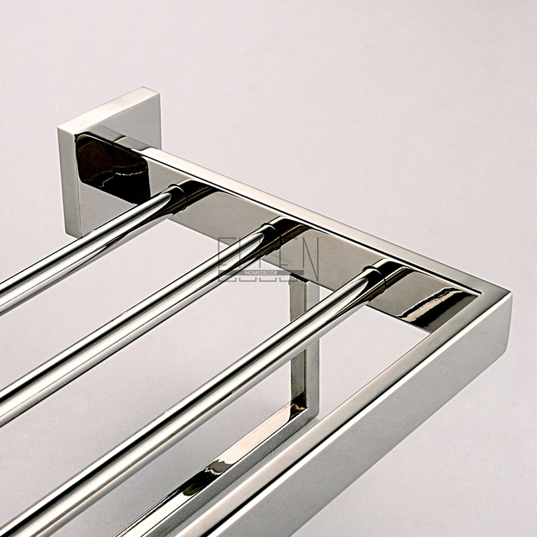 Aliexpress Buy Bathroom Mirror Polished Stainless Steel Towel Rack Wall Mounted Square Holder Shelf Acessorios Para Banheiro From Reliable