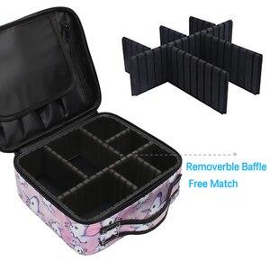 Image 2 - Deanfun trousse de voyage multifonctionnelle licorne étui de maquillage, trousse à cosmétiques, organiseur de voyage avec diviseurs ajustables, 16001