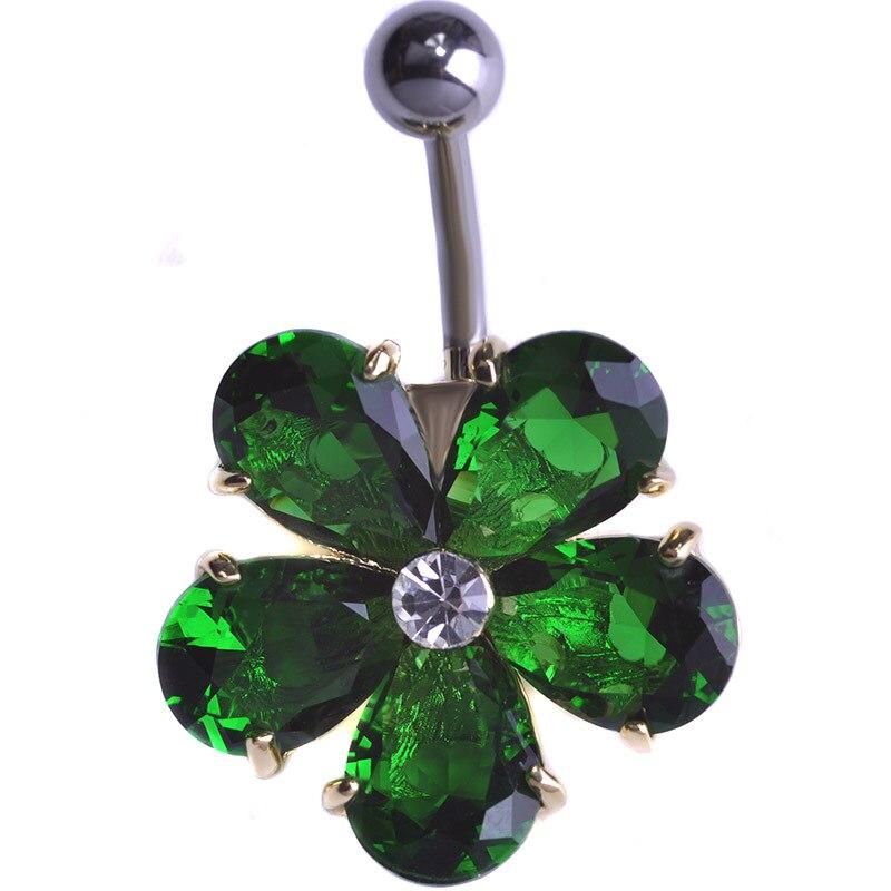 Flower Stainless Steel Belly Button Rings CZ Bling Bling Rhinestone Luxury Navel Piercing Septum Piercings Umbigo