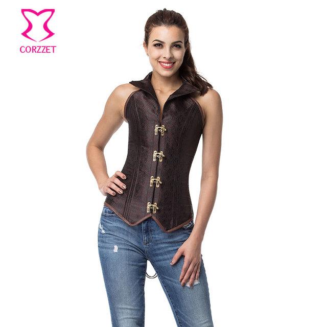 Corzzet marrón jacquard cuello halter overbust corsé de acero del hueso corsés atractivos y bustiers steampunk burlesque traje ramillete