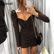 Yojoceli 2018 sexy long sleeve bodycon lace up dress women vintage royal square neck mini dress party club fold elastic dress
