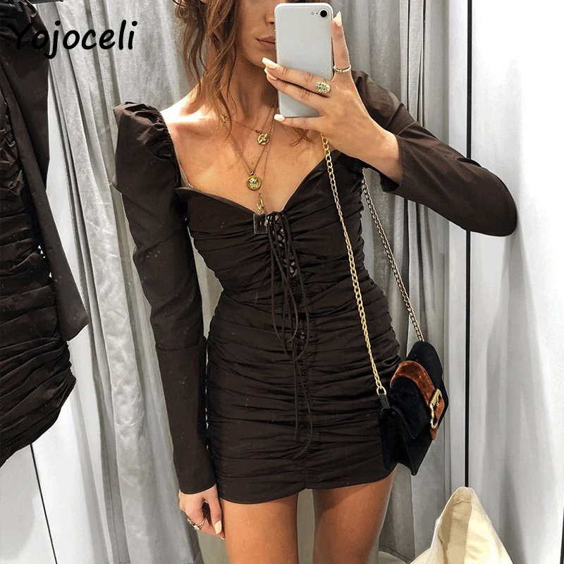 Yojoceli <font><b>2018</b></font> <font><b>sexy</b></font> long sleeve bodycon lace up dress women vintage royal square neck mini dress <font><b>party</b></font> <font><b>club</b></font> fold elastic dress image