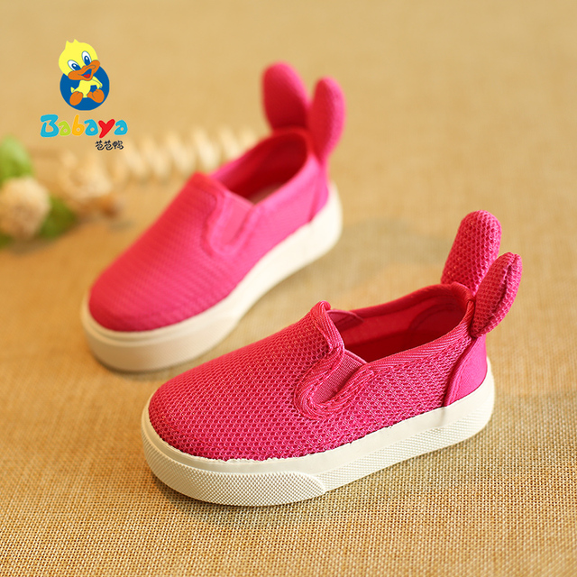 2016 casual Brand designer solid cartoon rabbit ear net infantile toddle tenis flat baby Summer casual shoes girls first walkers