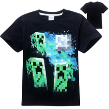 2017 Child Boys Summer Black Blue Cotton T-Shirt Minecraft Halloween Costume Clothes For Kids Age 5-14T Free Shipping