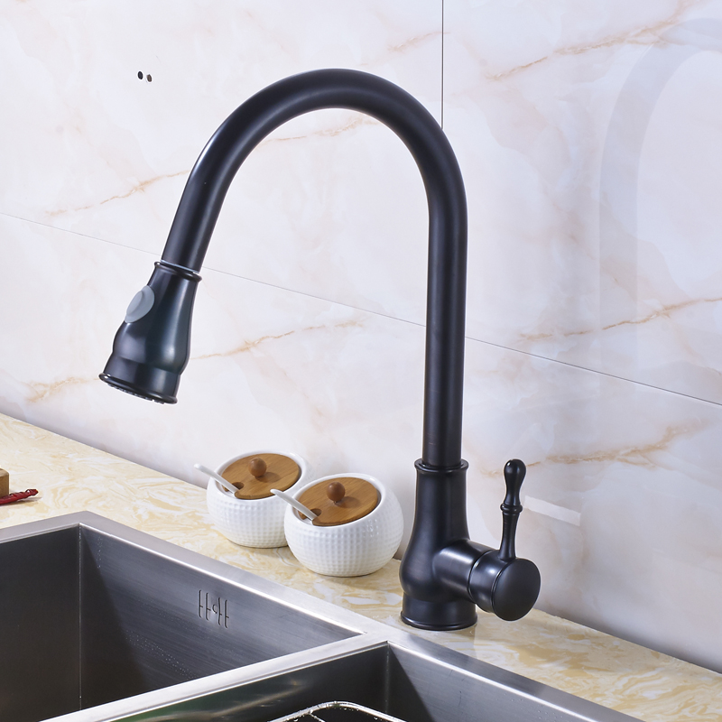 Oil Rubbed Bronze Pull Out Mixer Tap Swivel Spout Kitchen Sink Faucet with Cover Plate golden brass kitchen faucet dual handles vessel sink mixer tap swivel spout w pure water tap