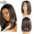 Zana Hair Top quality brazilian glueless full lace human hair wigs highlight dark brown straight lace front wigs for black women
