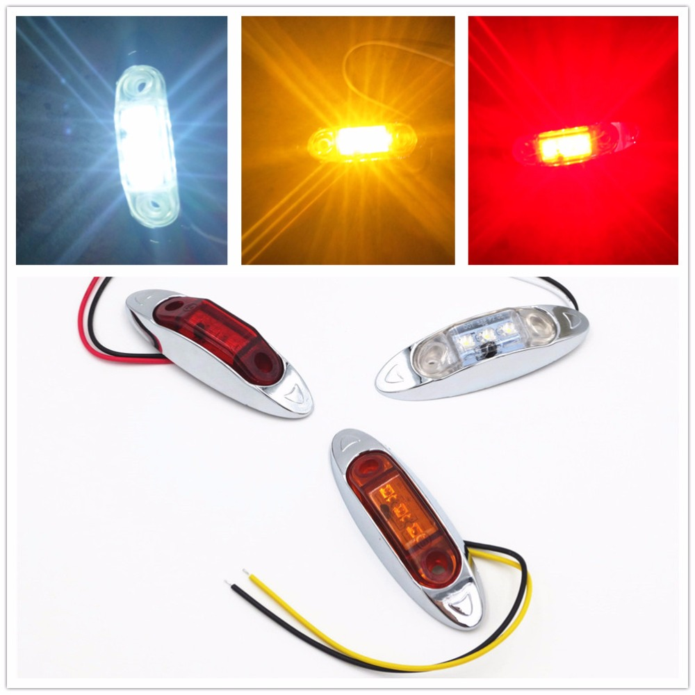 CYAN SOIL BAY 10PCS AMBER Yellow White Red Waterproof Side Marker Lights Clearance Lamp Trailer Truck Bus Car 3 LED 12V 24V cyan soil bay truck trailer side fender marker clearance light chrome bezel 3 led dc 10 30v red