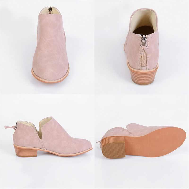 LASPERAL/Новые осенние женские ботинки женская обувь на высоком квадратном каблуке без застежки повседневная женская модная обувь с острым носком