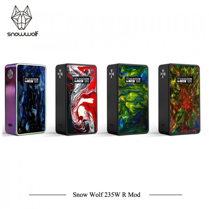 Original E Cigarettes Vape Loup de Neige 235 w R Mod Boîte Mod SnowWolf Coloré Vaporisateur Soutien 0.05-2.5ohm Tête atomiseur E Cigs