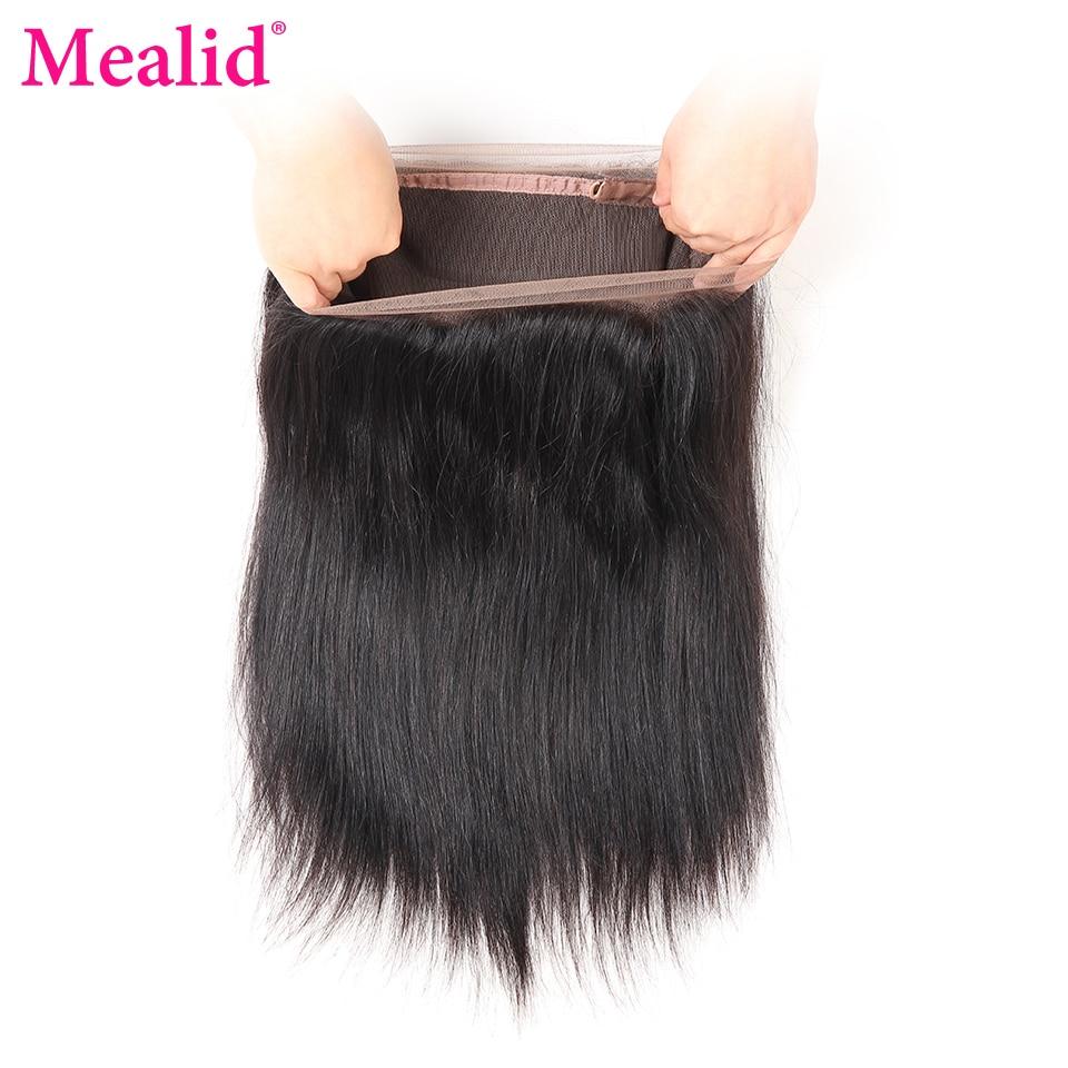 """[Mealid] Brazilijos tiesūs plaukai iš anksto nupešti 360 nėrinių priekiniai su kūdikių plaukais 10 """"-20"""" natūralios spalvos, nepaliekantys žmogaus plaukai"""