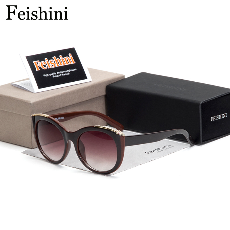 FEISHINI High Quality Shop Counters Cat eye Sunglasses Women Brand Designer Luxury Arrow Artificial Crystal PC Lens Glasses 2018