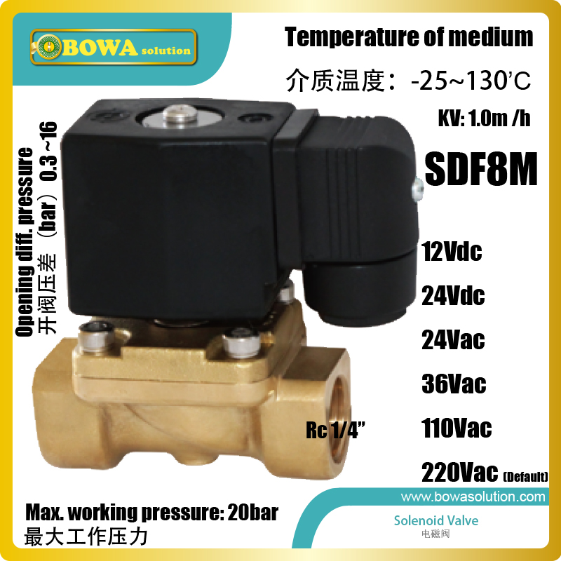 Water solenoid valve with RC1/4 connections are used as control valve of FCU and AHU in water chiller air condtioner systems aluminium shutoff valve as suction valve of fk20 fk30 and fkx open type compressors for mobile refrigeration and air condtioner