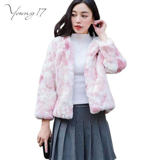 young17 faux fur coats winter high copy mink fur jacket manteau femme short gradual color long - Manteau Femme Color