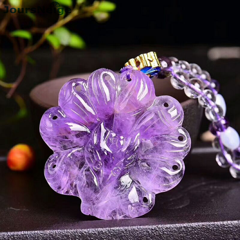 Wholesale Fine Purple Natural Crystal Pendant Hand Carved Nine Tail Fox Sweater chain Necklace Lucky for Women Marriage Jewelry Wholesale Fine Purple Natural Crystal Pendant Hand Carved Nine Tail Fox Sweater chain Necklace Lucky for Women Marriage Jewelry