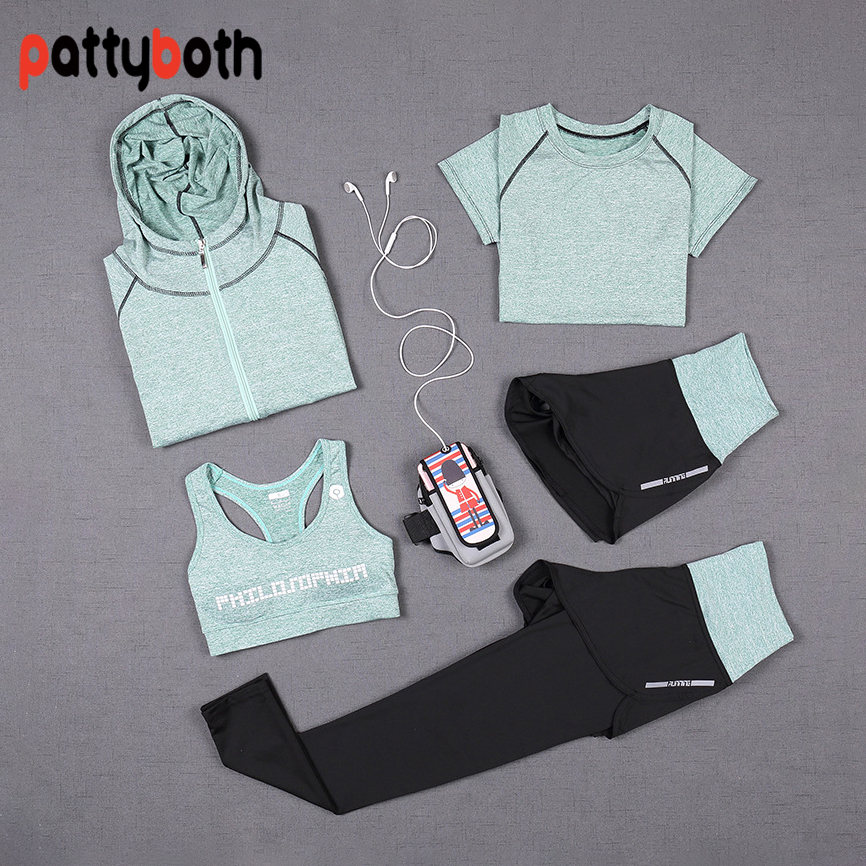 5 PCS Women Yoga Set Running T-Shirt Tops Sports Bra Vest Fitness Pants Short Sleeve Shorts Pant Gym Workout Sports Suit women yoga suit outfit fitness clothes running outdoor jogging clothing gym sport 5 pcs set bra t shirt jacket short pant