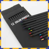 12 Pcs/Set Valued Color Pencil Packaging 12 Different Colours Colored Pencils Kawaii School Black Wooden Pencils High Quality