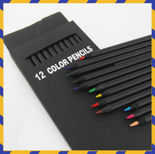 12 Pcs/Set Valued Color Pencil Packaging 12 Different Colours Colored Pencils Kawaii School Black Wooden Pencils High Quality
