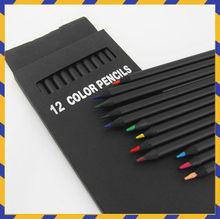 12 pz/set Stimati Matita di Colore di Imballaggio 12 Diversi Colori Matite Colorate Kawaii Scuola Nero Matite di Legno di Alta Qualità