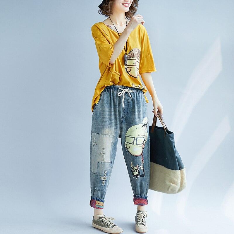 Summer New Boyfriend   Jeans   Harem Pants Women Trousers 2018 Preppy Vintage Cartoon Print Patch Ripped Long Cotton Denim Pants