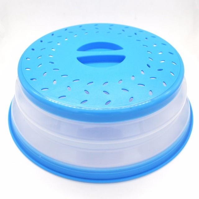Collapsible Microwave Cover Lid Folding Silicone Plate Colander Strainer For Fruit Vegetables