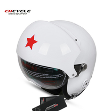 CHCYCLE Chinese Military Air Force Jet Pilot Open Face Motorcycle Green Helmet Visor retro motorbike helmets
