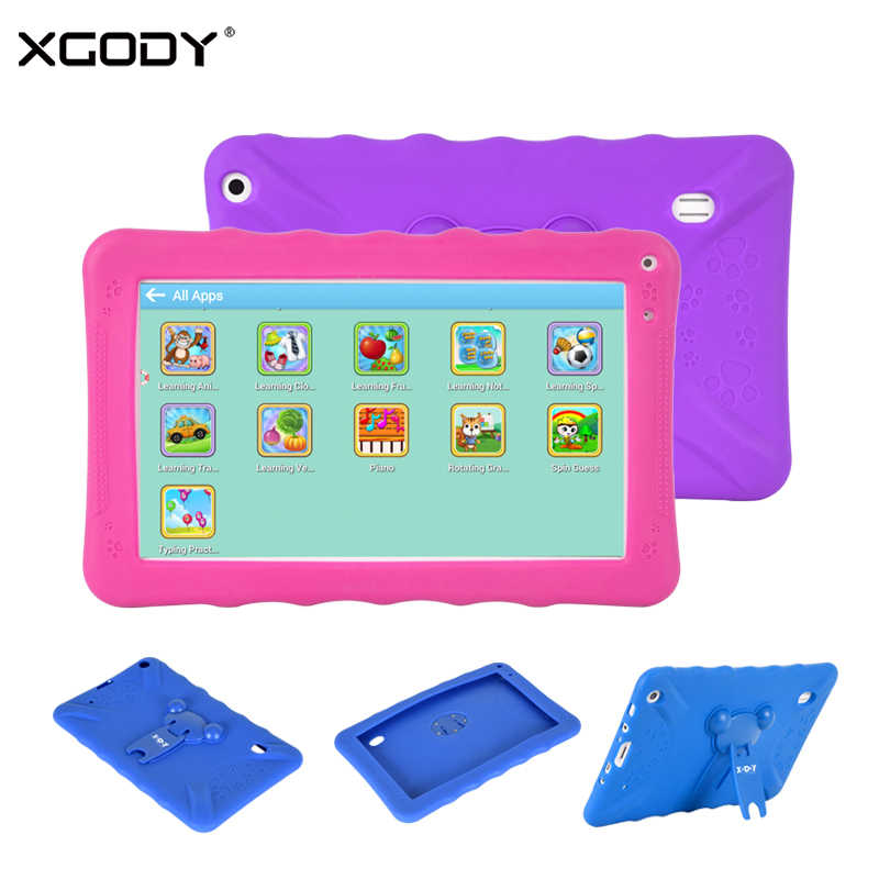 "XGODY New 9"" Kids Tablet PC Android 6.0 Children Learning Machine Tablets 1GB 16GB Dual Camera WiFi With Silicone Case Holder"