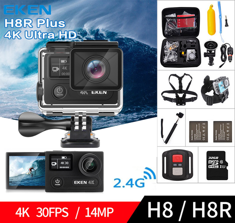 EKEN H8 H8R Ultra HD 4K 30FPS WIFI Action Camera 30M Waterproof 1080p 60fps DVR Underwater Sport Cam PK Go Pro original ruisvin s30a 4k wifi full hd 1080p 60fps 2 0 lcd action camera 30m diving go waterproof pro camera ultra hd sports cam