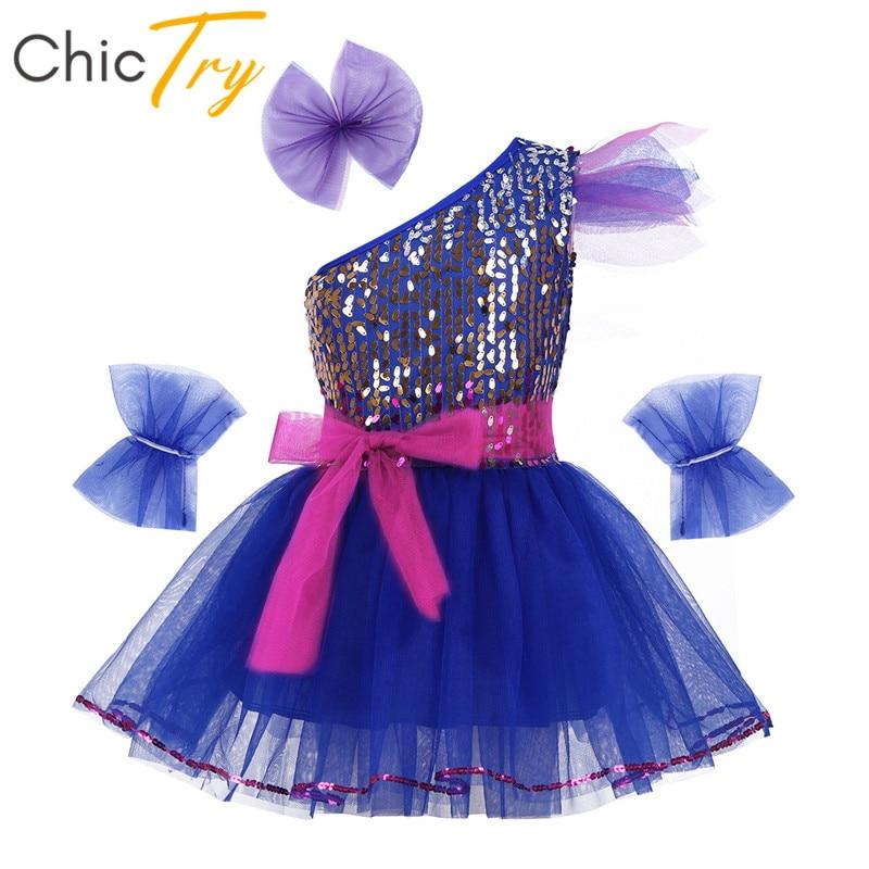 ChicTry Kids Teens One-Shoulder Sequins Stage Performance Jazz Dance Costumes Set Girls Ballroom Ballet Tutu Mesh Dance Dress