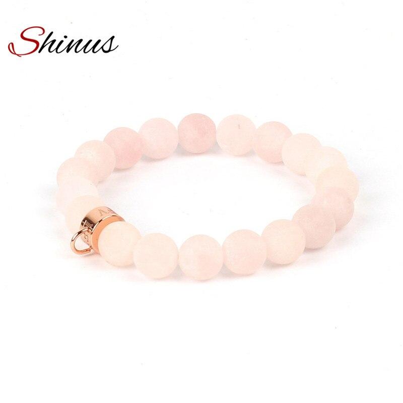 Shinus Bracelet Men Bracelets Women Charms Natural Stone Beads Jewelry Stainless Steel Rose Gold Color Charm Handmade Love Gift