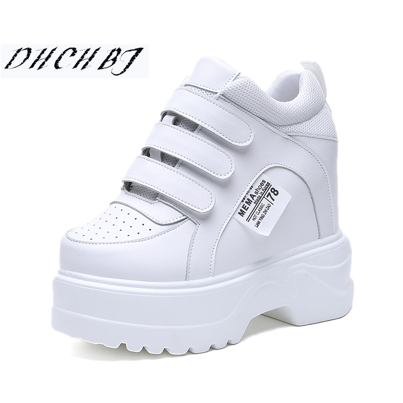 2019 New Women Platform <font><b>High</b></font> <font><b>Heels</b></font> <font><b>PU</b></font> Leather Breathable Wedge Casual Shoes <font><b>12</b></font> <font><b>CM</b></font> Spring Thick Sole Sneakers Woman Outdoor Shoes image