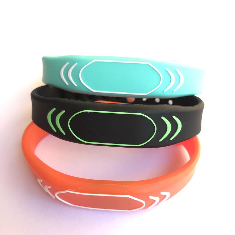 New Design 13.56MHZ ISO14443A MIFARE Classic 1K Black NFC Silicone Rfid Wristband (pack Of 100)