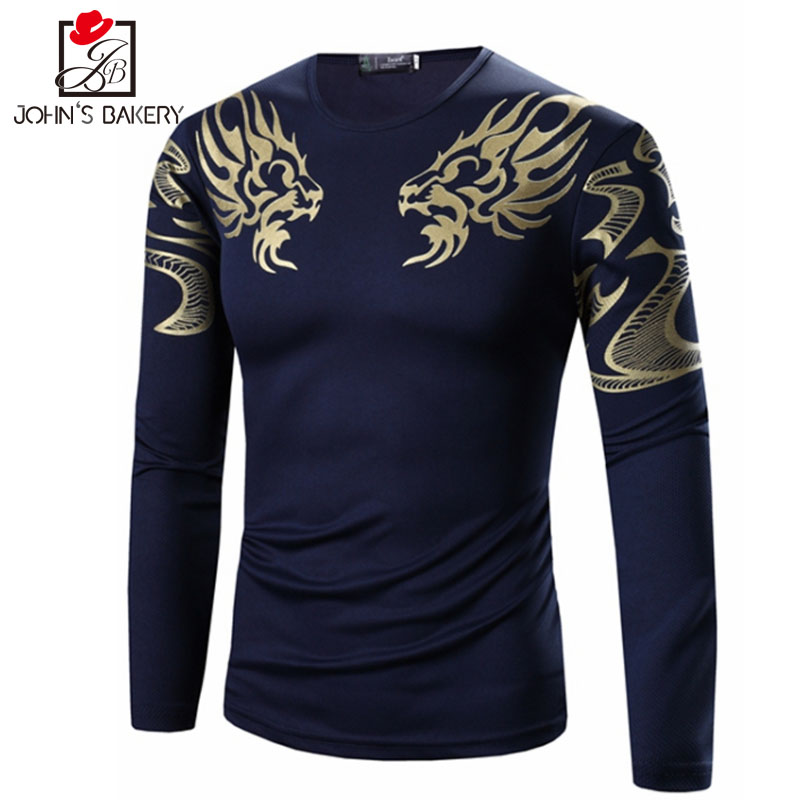 2018 Mens T Shirt Printing Fashion Long Sleeve Cotton T-Shirts Casual O-Neck T shirt Men Tee Homme High Quality Tees Tops 3XL YJ