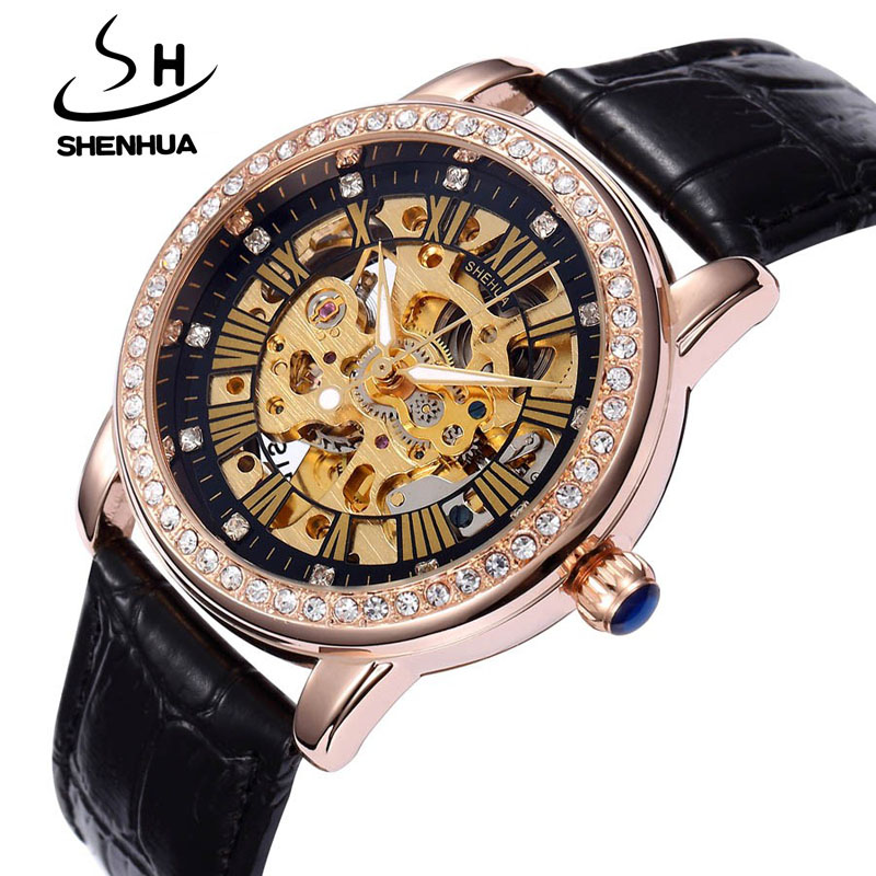New Automatic Womens Watches Self Wind Skeleton Watches for Women Luxury Brand Waterproof Mechanical Rhinestone Watches Leather