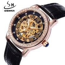 Shenhua Women's Mechanical Watches Top Brand Luxury Automatic Mechanical Skeleton Watches for Women Diamond Watches Waterproof