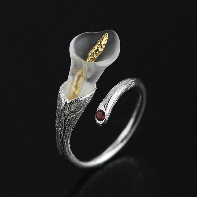 925 Sterling Silver Handmade Calla Lily Design Ring