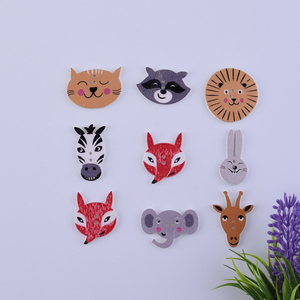 50 Pcs Animal Fox Rabbit Wooden Buttons Scrapbooking Crafts DIY Baby Educational Clothing Apparel Sewing Accessories Decoration(China)