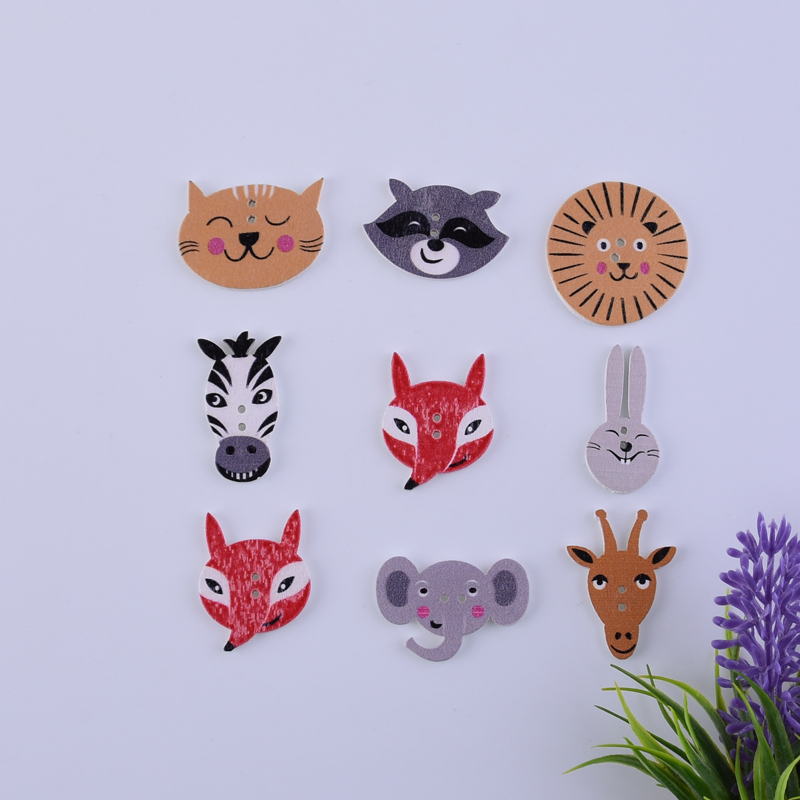 50 Pcs Animal Fox Rabbit Wooden Buttons Scrapbooking Crafts DIY Baby Educational Clothing Apparel Sewing Accessories Decoration